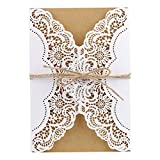 Laser Cut Wedding Invitations Cards Kit With Rope Card Stock for Wedding, Engagement, Party (30pcs)
