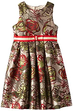 Us Angels Big Girls' Euro Inspired Brocade Dress with Box Pleat Skirt, Red Jaquard, 7