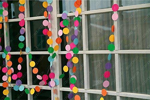Somnr® Pack of 4 10-feet Long Paper Circle Dots Hanging Decoration String Party Garland - Rainbow Color