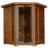 HeatWave SA1320 Whistler 4 Person Cedar Corner Infrared Sauna with 10 Carbon Heaters Bronze Tinted Tempered Glass Door Oxygen Ionizer EZTouch Cortrol Panel CHROMOTHERAPY System and Sound