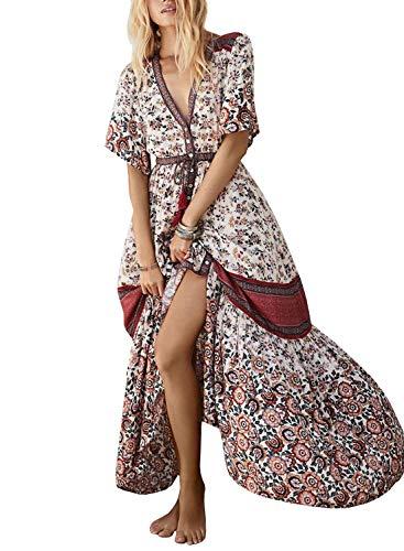 Doballa Women's Button Up Split Floral Print Half Sleeve Deep V Neck Flowy Maxi Dress Beige and -
