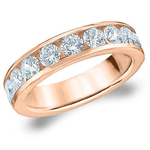 18K Rose Gold Diamond Channel Set Wedding Band (1.5 cttw, F-G Color, VS1-VS2 Clarity) Size 7 (Gold Eternity Ring Diamond 18k)