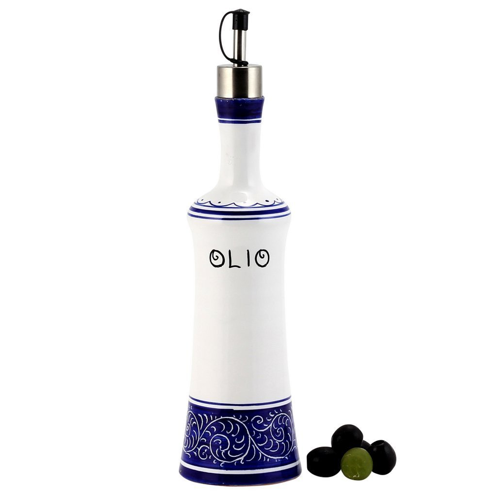 GRAFFITO BLUE: Olive Oil Bottle with S Steel capped pourer