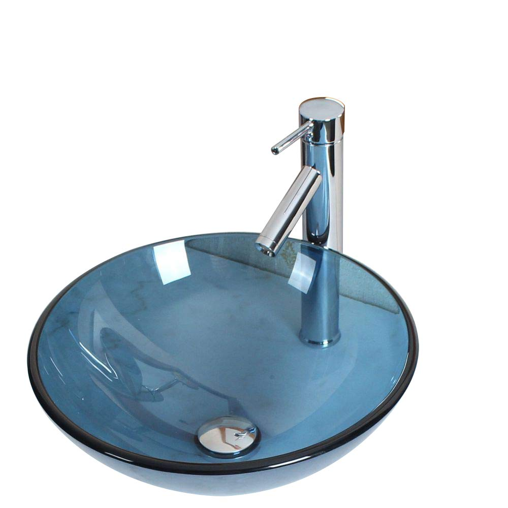 Elite Bathroom Clear Blue Color Glass Vessel Sink Chrome Single Lever Faucet Combo Chrome Pop Up Drain Mounting Ring