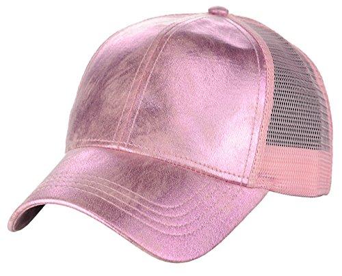 C.C Unisex Metallic Glossy Feel Front Panel Adjustable Mesh Trucker Baseball Cap, Pink Baseball Metallic Hat