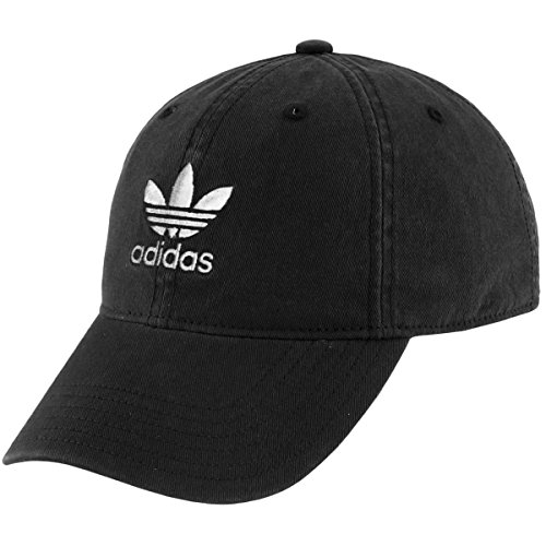 adidas Youth Originals Relaxed Fit Strapback Cap, Black/White, One Size (Adidas Soccer Hat)