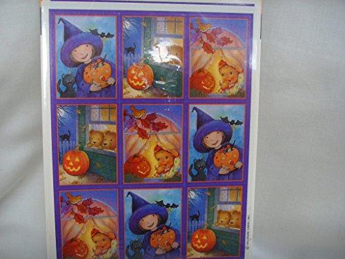 Vintage Hallmark Halloween Pumpkin Autumn Jack o'Lantern Witch Stickers Scrapbooking ; 1 sheet