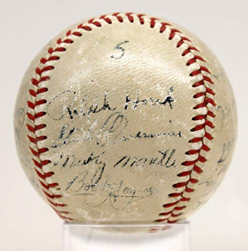 - 1951 YANKEES TEAM BASEBALL SIGNED BY 24 JSA MICKEY MANTLE AUTOGRAPHED RARE Y0344
