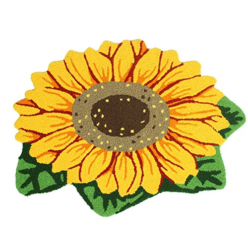 KEPSWET Handmade Sunflower Non-slip Rug Pad Fashion Colorful Decoration Floor Mats Pretty Yellow Anti-slip Flower Home Carpet Footmat Doormats (2'6x1'6, Yellow) ()