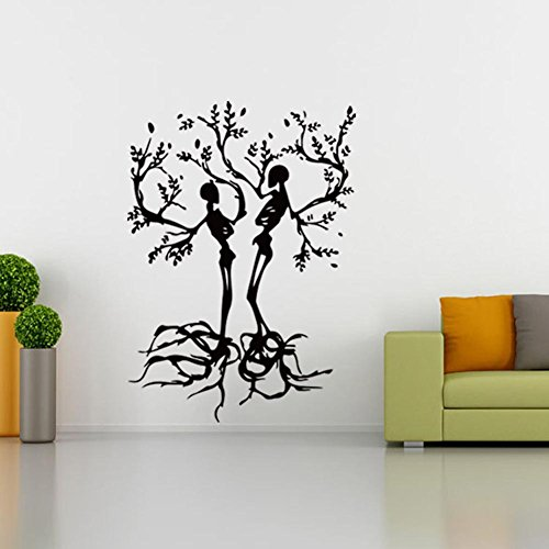 BIBITIME Halloween Vinyl Couple Skull Tree Wall Decal Black Skeleton Sticker for Living Room Porch Sofa Background Decorations Shop Showcase Window Kids Room Decor