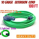 10 Gauge Triple Tap Extension Cord With Lighted Ends Century Contractor Grade 100' 10 Gauge Power Extension Cord 10/3 Plug Heavy Duty Indoor Outdoor Triple Outlet (100 ft 10 AWG Copper, green)
