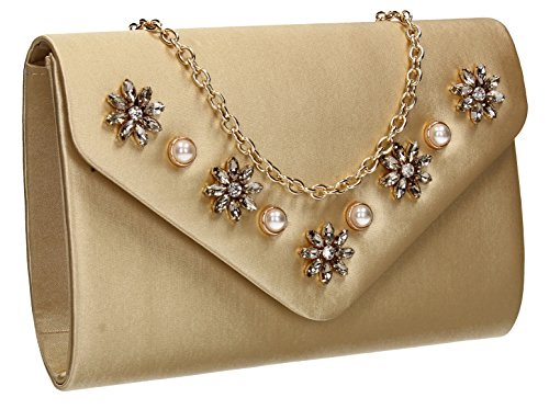 Envelope Satin Bag Clutch Envelope Prom Gold Party Womens Leila Wedding SWANKYSWANS 1RwH1