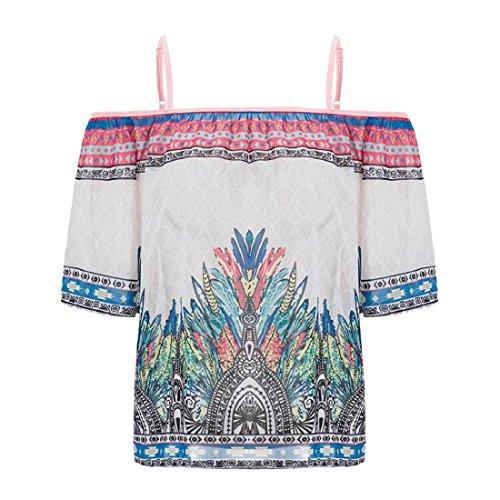 Tongshi de las mujeres de la gasa del hombro ocasional de la camisa de la blusa de manga corta Blanco