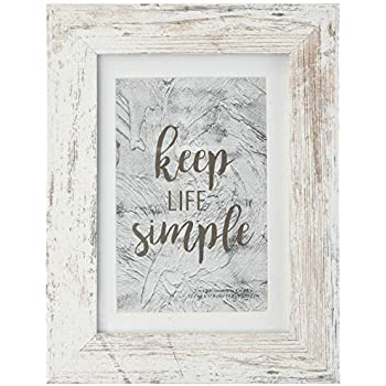 Home&Me 5x7 Rotten White Picture Frame - Made to Display Pictures 4x6 with Mat or 5x7 Without Mat - Wide Molding - Wall Mounting Material Included ...