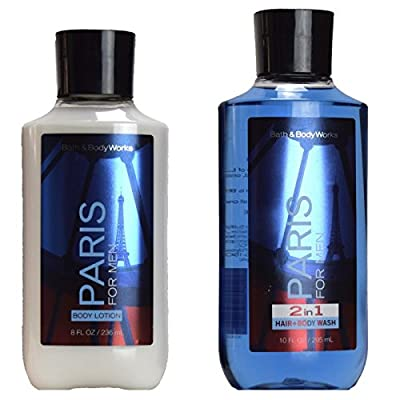 Bath Body Works Paris for Men 8.0 oz Body Lotion, And Paris 10.0 oz 2 in 1 Hair Body Wash