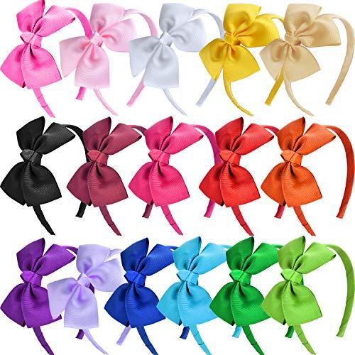 SIQUK 16 Pieces Bow Headband Grosgrain Ribbon Headbands with Bows Hair Hoops Hair Accessories for Girls, 16 Colors(Bonus: 1 Pc Storage Bag)