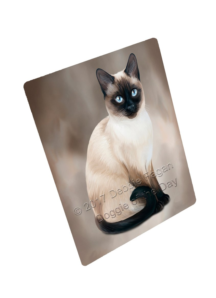 Thai Siamese Cat Art Portrait Print Woven Throw Sherpa Plush Fleece Blanket D061 (60x80 Fleece) by Doggie of the Day