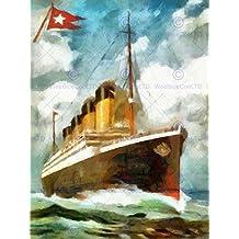 Titanic White Star Line Disaster Watercolour Poster Print