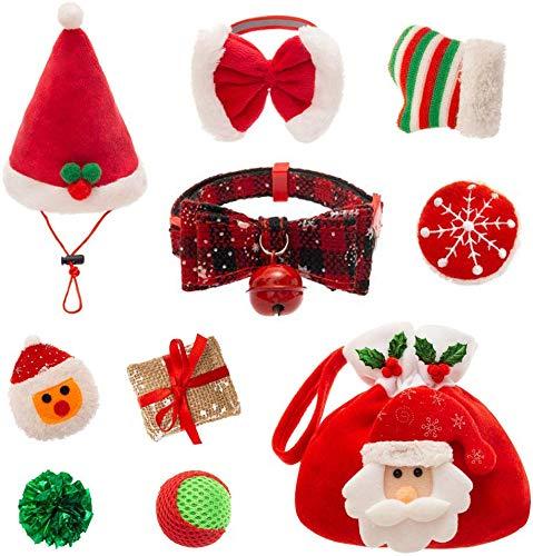 PUPTECK 9 PCS Christmas Cat Toys Set - Cat Collar, Soft Ball, Catnip Bag, Pet hat, Plush Toys, Crinkle Ball, Red Bow (Cat Christmas Toys)