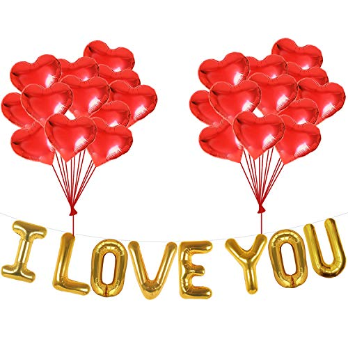 I Love You Balloons and Heart Balloons Kit - Pack of 28 - Valentines Day Decorations for Party | Valentines Day Balloons | Valentine Balloons | Pack of 10 Foil Mylar Red Heart Shaped Balloons 18 Inch]()