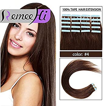 Remeehi 15 32Inch Tape In Premium Remy Human Hair Extensions 20 Pcs Set 60g Weight