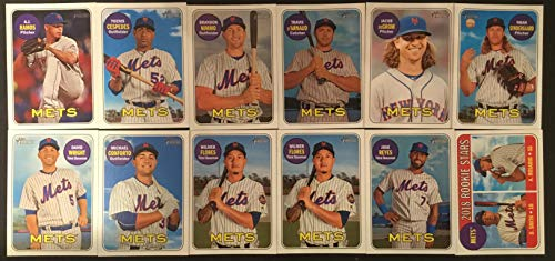 - 2018 Topp Heritage New York Mets Team Set - 11 Cards Including (Low Numbers Only) - Michael Conforto, Jacob DeGrom, Brandon Nimmo, Travis D'Arnaud, Wilmer Flores, David Wright, Noah Syndergaard, Jose Reyes, Yoenis Cespedes, Dominic Smith RC, A.J. Ramos, and Amed Rosario RC.