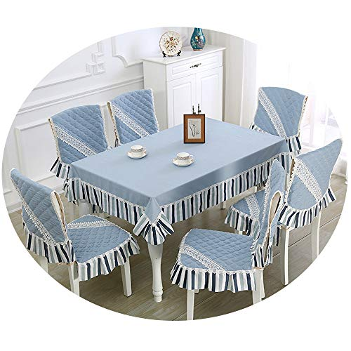 NDJqer 13Pcs/Set Table Cloth for Kitchen Dining Room Blue Tablecloth for Wedding Party Tablecloths Chair Cover Set Baduul Jahangshi About 130X180Cm (8 Seater Dining Table And Chairs Ikea)