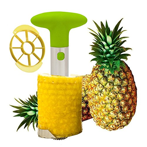 (Tailbox Stainless Steel Pineapple Corer Slicer - Pineapple De-Corer, Cutter, Pineapple Peeler Stem Remover Blades for Easy Coring - All In Two Kitchen Gadget (Green))