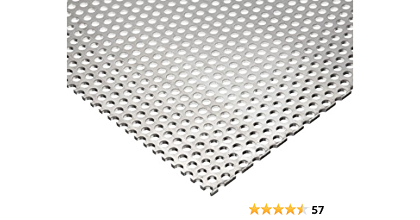 0.063 Thickness 3003 Aluminum Perforated Sheet Mill 24 Length 12 Width H14 Temper Unpolished Staggered Round 0.125 Holes Finish 0.1875 Center to Center 14 Gauge
