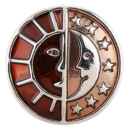 ® morella click-button bouton pression pour bijou femme à motifs soleils/lunes/étoiles bronze