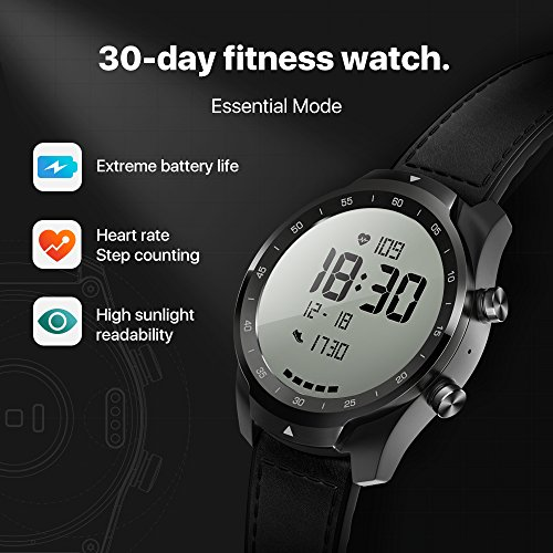 TicWatch Pro Bluetooth Smart Watch, Layered Display, NFC Payments, Google Assistant, Android Wear, Compatible with iOS and Android (Black)