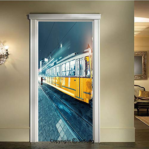 baihemiya 3D Door Wallpaper Stickers,Old-Tram-in-The-City-Center-Vintage-Urban-Train-Station-European-Town-Image,W30.3xL78.7inch,Suitable for Any Dry,Flat surfaceSlate-Blue