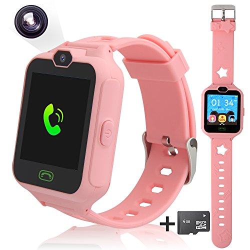 Smart Phone Watch for kids, Unlocked Cell Phone Watch with [Anti-lost SOS] [Camera] [Alarm] [Games] Smart Watch Includes 4G Micro SD Card, Nice Gift for Kids, Boys and Girls (pink)