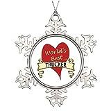 Dobend Tree Branch Decoration World's Best Trucker Photo Frame Snowflake Ornament