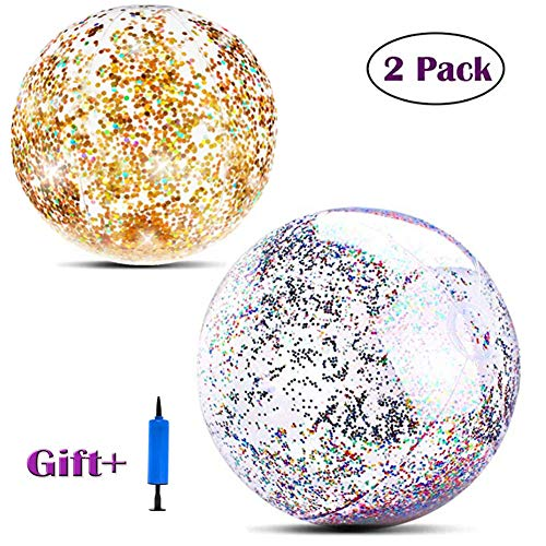 CHAOM 2 Pack Beach Ball for Parties Glitter Beach Balls Inflatable 16 inch 24 inch, Holidays - Pool Water Toys