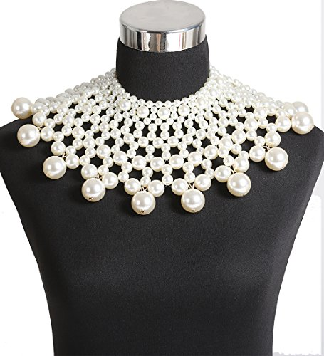 Boderier Egyptian Pearl Collar Necklace Statement Choker Necklace Bridal Wedding Accessories Jewelry ()