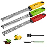 Citrus Lime Lemon Zester For Kitchen Tool Parmesan Cheese Grater Nutmeg Grater Set Red Yellow Green Stainless Steel Coconut Chocolate Grater