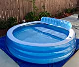 AMGS Plastic Kiddie Pool Inflatable Family Large Water Swim Lounge Center Seat Outdoor Indoor Blue & e-book by Amglobalsupplies