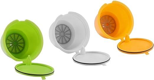 Coffee Capsule Filter, SUNJULY Cápsulas de café reutilizables sin BPA recargables para Dolce Gusto para Nescafe Genio Piccolo ESPERTA Circolo 3 Pack (amarillo + verde + blanco): Amazon.es: Hogar