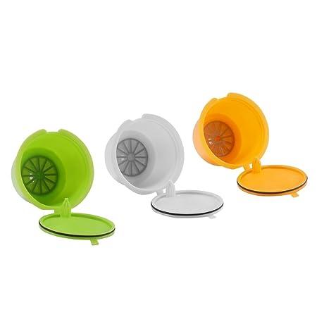 Capsulas Dolce Gusto Recargables, SUNJULY 3PCS Filtros reutilizables Compatibles Para Illy Cafetera para Nescafé Genio Piccolo Esperta Circolo (3 ...