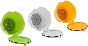 Capsulas Dolce Gusto Recargables, SUNJULY 3PCS Filtros reutilizables Compatibles Para Illy Cafetera para Nescafé Genio Piccolo Esperta Circolo (3 colores)