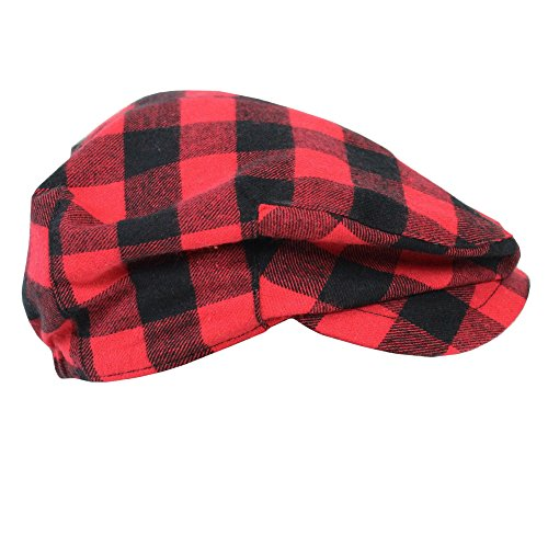- juDanzy Baby & Toddler Plaid Cabbie Hats (0-3 Months, Red Buffalo Plaid)