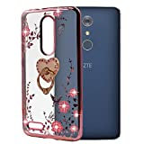zte imperial cell phone covers - ZTE ZMAX Pro Case , ZTE Carry / Imperial Max / Kirk Case , BestAlice Slim Soft Gel Clear Bling Case Rose Gold Metal Plating Bumper Cover , Heart Ring Stand