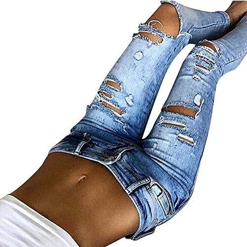Jeans Femme - Fashion Casual Hole Jeans Stretch Slim Sweat Pants