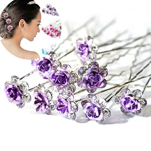 AKOAK 20 Pcs/Lot Women Wedding Bridal Clear Crystal Rhinestone Rose Flower Hair Pin Clips Hair Accessories Jewelry Barrettes ()