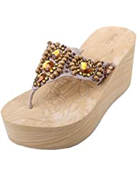 Brave Womens Portrait Fabric Thong Wedge Sandals