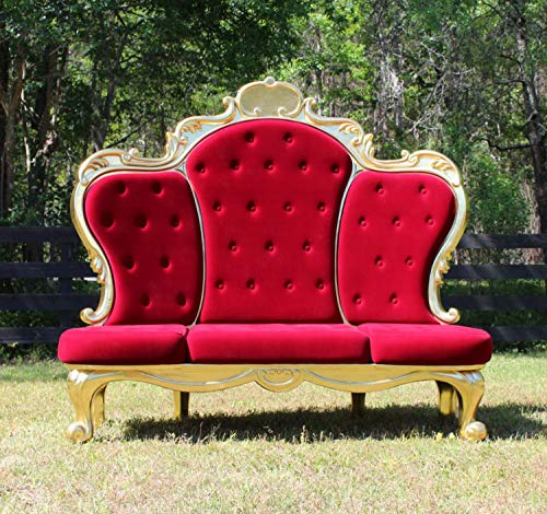 Giant Red Velvet and Silver Throne Royal Three Seat Chair with Ball Claw Feet