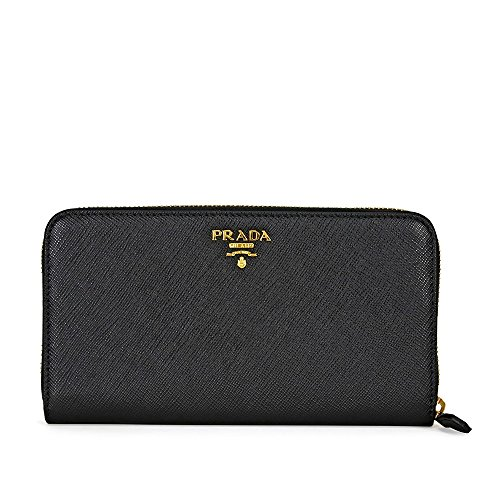 Prada Bi-fold Zip Saffiano Leather Continental Wallet - Black