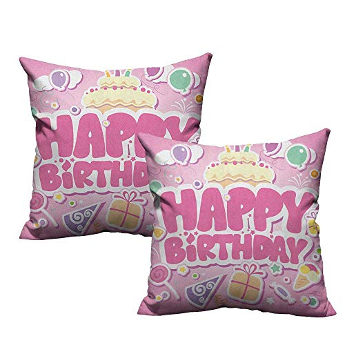 RuppertTextile Polyester Pillowcase Kids Birthday Cartoon Seem Party Image Balloons Boxes Clouds Cake Celebration Image Print Suitable for Hair and Skin Health W24 xL24 2 pcs