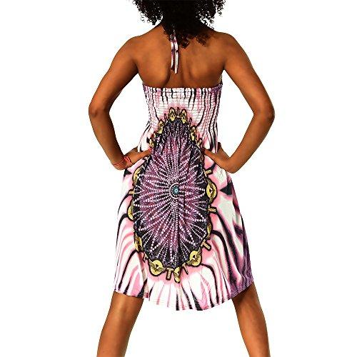 cuello Diseño nbsp; Lila de Multicolor al Vestido 021 mujer azteca para Atado H112 playa F aqgPYP
